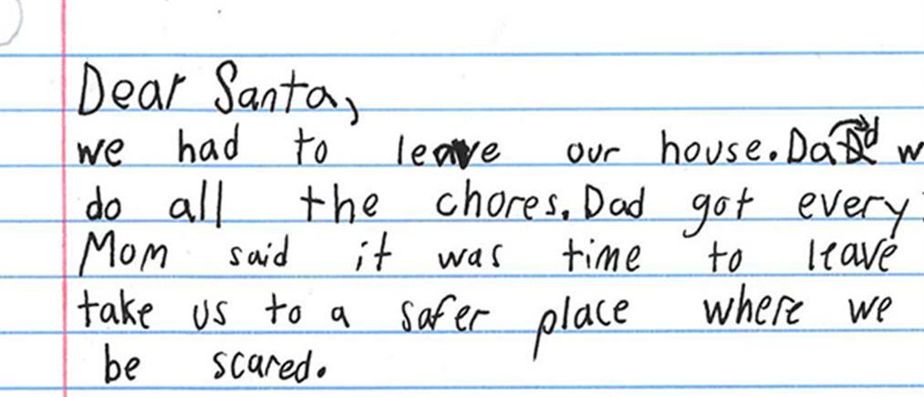 """Κακοποιημένο παιδί ζήτησε από τον Άγιο Βασίλη """"έναν καλό μπαμπά"""""""