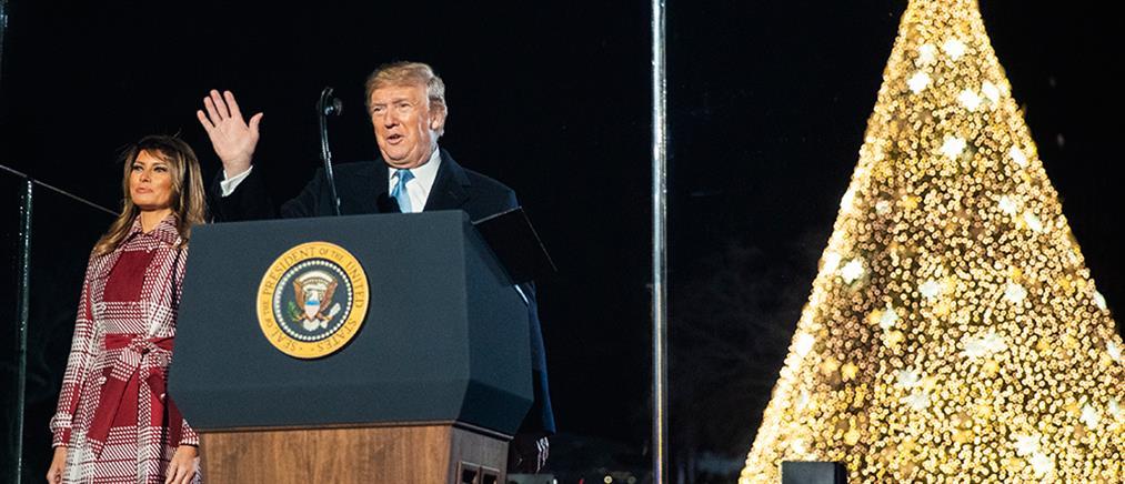 Το ζεύγος Τραμπ φωταγώγησε το χριστουγεννιάτικο δέντρο στην Ουάσινγκτον (βίντεο)