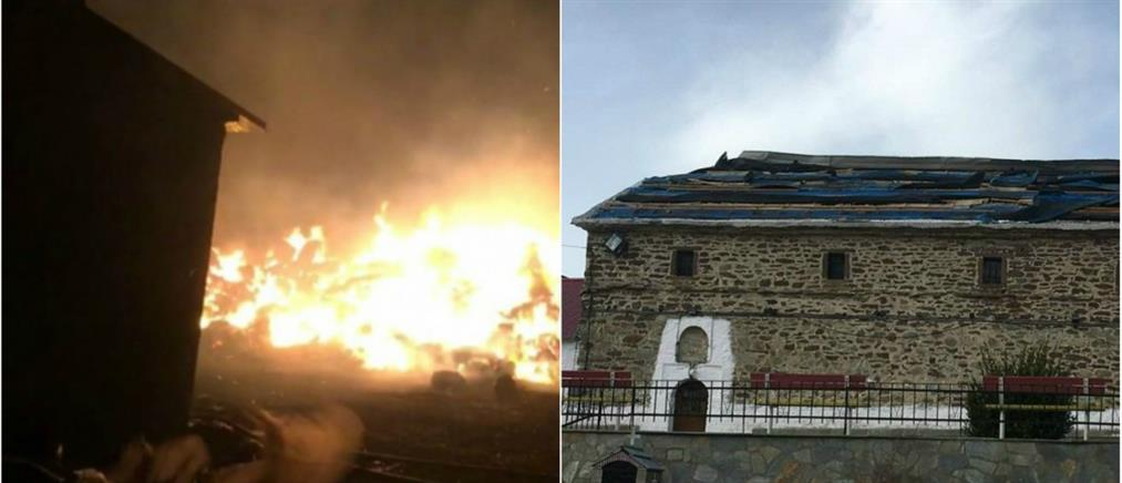Καταστροφές στα Γρεβενά από τους ισχυρούς ανέμους (βίντεο)