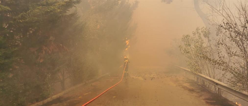 Φωτιά στην Σταμάτα: το μήνυμα από το 112 στους κατοίκους (εικόνες)