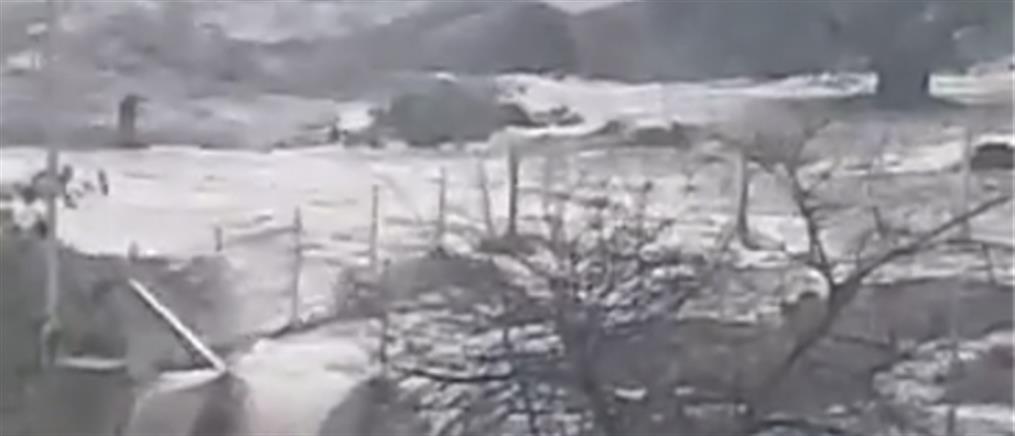 Στο έλεος της καταιγίδας η Θάσος (βίντεο)