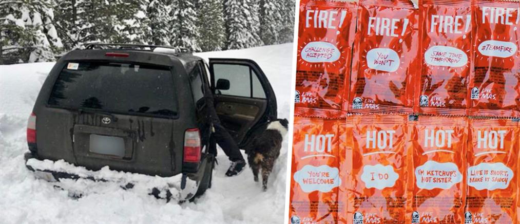 Αποκλείστηκε στα χιόνια και επιβίωσε με σως από fast food!
