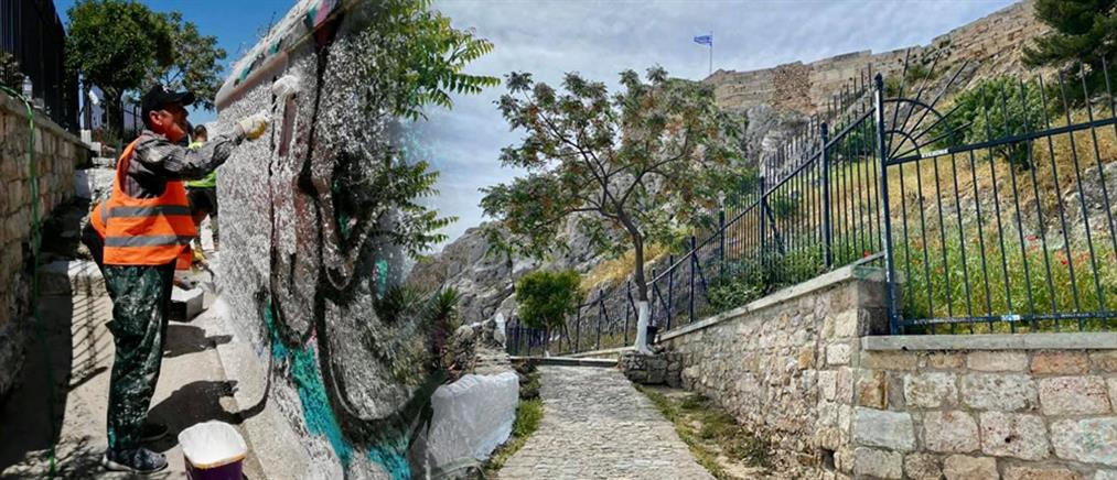 Δήμος Αθηναίων: επιχείρηση αντιγκράφιτι στα Αναφιώτικα (εικόνες)