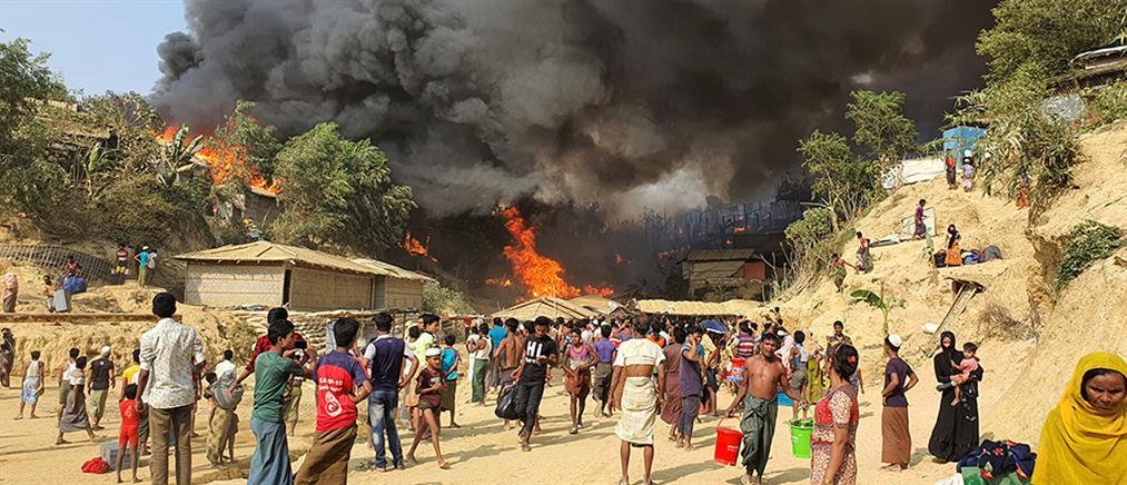 Φονική πυρκαγιά σε προσφυγικό καταυλισμό (βίντεο)