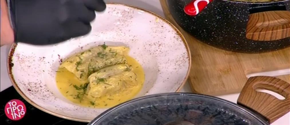 Λαχανοντολμάδες με αρωματικό αυγολέμονο