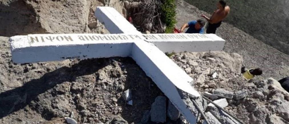 Λέσβος: γκρέμισαν σταυρό που είχε τοποθετηθεί σε ακτή του νησιού