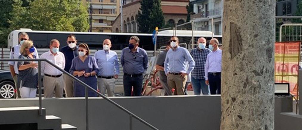 Μετρό Θεσσαλονίκης: Αυτοψία Μενδώνη-Καραμανλή στον σταθμό Αγίας Σοφίας