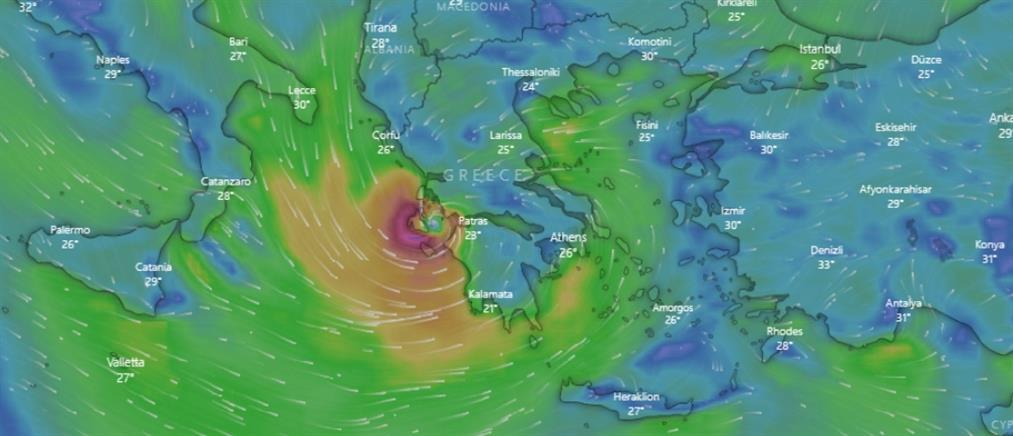 """""""Ιανός"""": Δείτε live την πορεία του μεσογειακού κυκλώνα"""