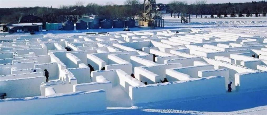 Ζευγάρι δημιούργησε τον μεγαλύτερο λαβύρινθο από χιόνι