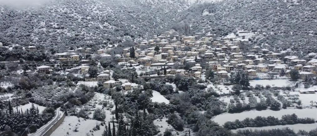"""""""Λέανδρος"""" - Καρυά: βίντεο από το χιονισμένο """"Κολοκοτρωνίτσι"""""""