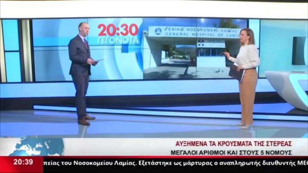 Η στιγμή της νέας σεισμικής δόνησης 5,8R κατα τη διάρκεια δελτίου ειδήσεων