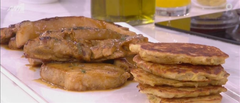 Μπριζολάκια χοιρινά και πανκέικς πατάτας από τον Πέτρο Συρίγο