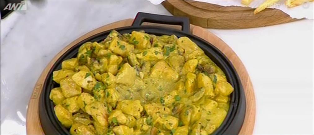 Συνταγή για τηγανιά με κοτόπουλο, μανιτάρια και μουστάρδα