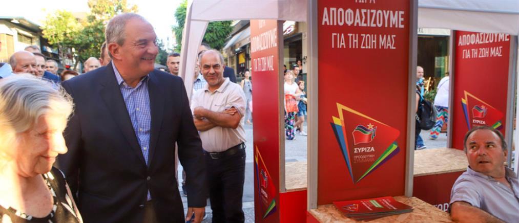 Ο Κώστας Καραμανλής στο περίπτερο του ΣΥΡΙΖΑ (εικόνες)