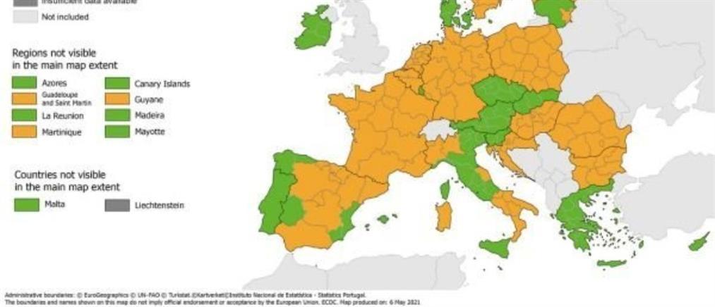 """Κορονοϊός - Χάρτης ECDC: """"Πράσινη"""" η Ελλάδα στον δείκτη θετικότητας"""