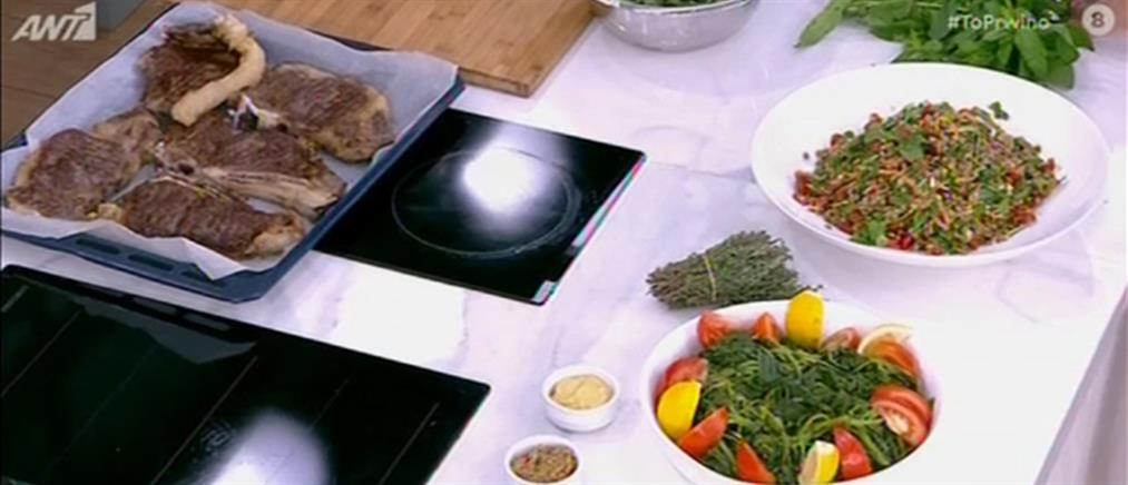 Μοσχαρίσιες μπριζόλες και σαλάτα με φακές από τον Πέτρο Συρίγο