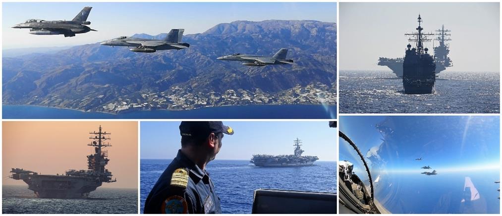 Συνεκπαίδευση ελληνικών δυνάμεων με την ομάδα κρούσης από το αεροπλανοφόρο Αϊζενχάουερ (εικόνες)