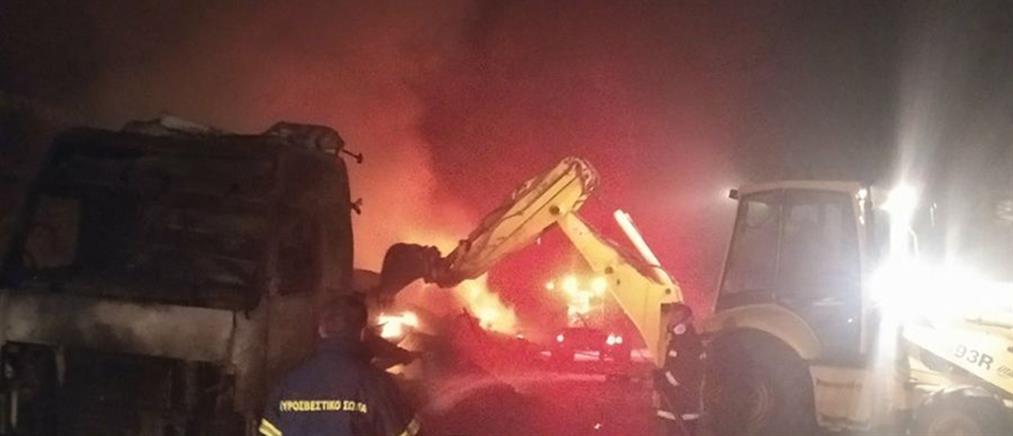 Νταλίκα τυλίχθηκε στις φλόγες (εικόνες)