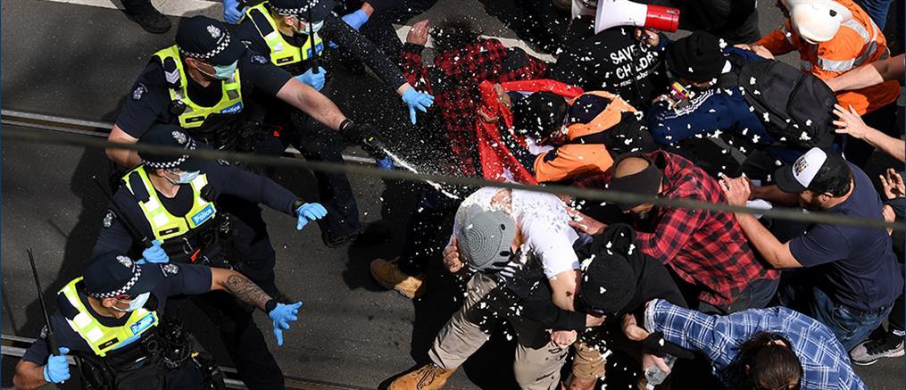 Κορονοϊός – Αυστραλία: διαδηλώσεις κατά του lockdown και συγκρούσεις με την αστυνομία