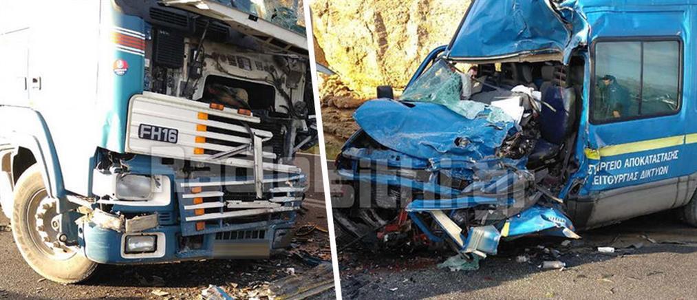 Νεκρός οδηγός σε τροχαίο με νταλίκα (εικόνες)
