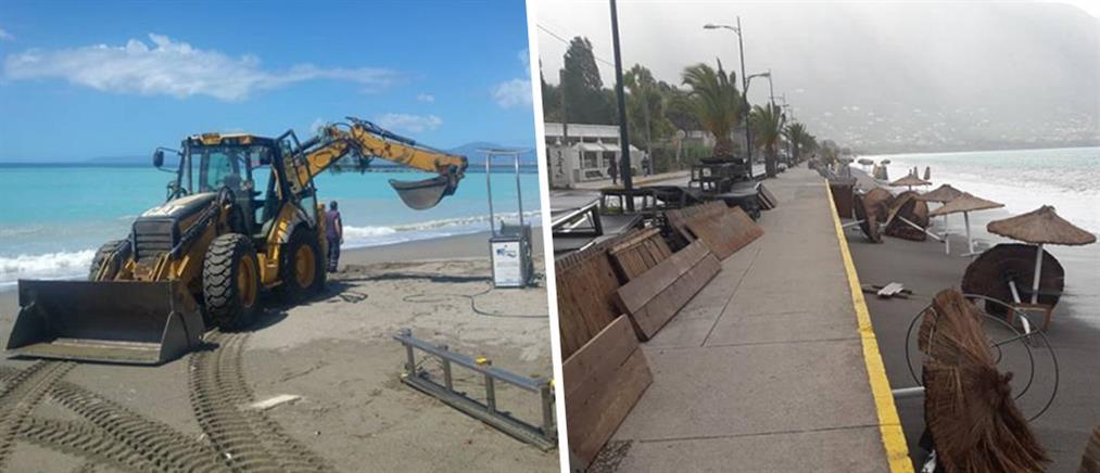 Καλαμάτα: Ζημιές στην παραλία από τα τεράστια κύματα (βίντεο)