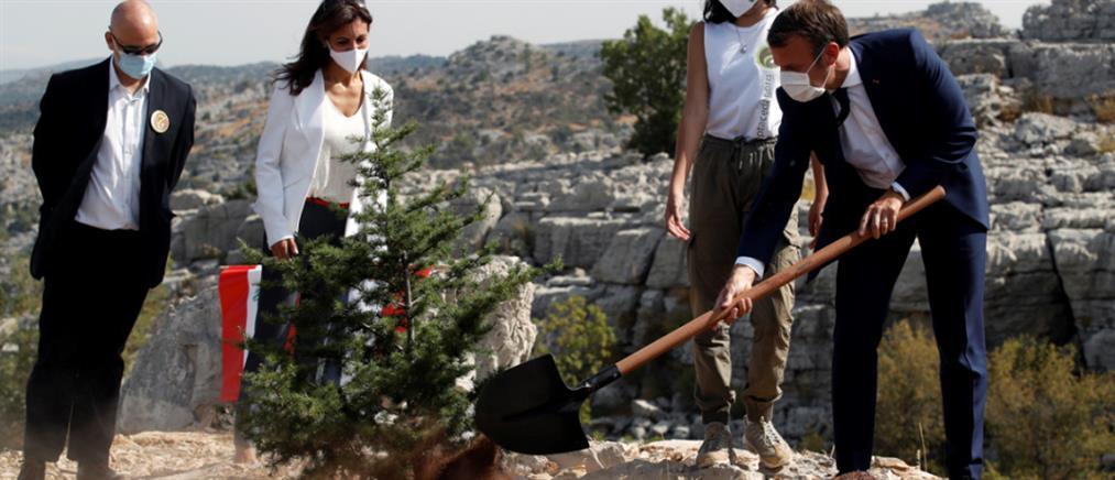 Μακρόν: τίμησε τον Λίβανο φυτεύοντας έναν κέδρο!