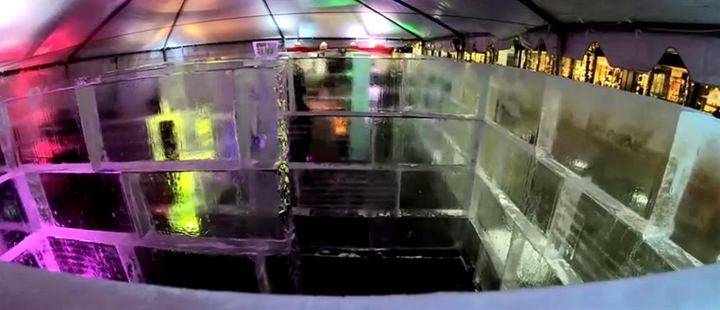 Κέρδισε τις εντυπώσεις ο λαβύρινθος από πάγο (βίντεο)