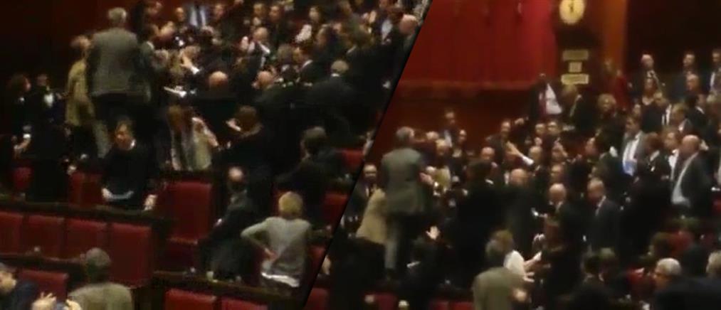 Ξύλο στην Ιταλική βουλή (βίντεο)