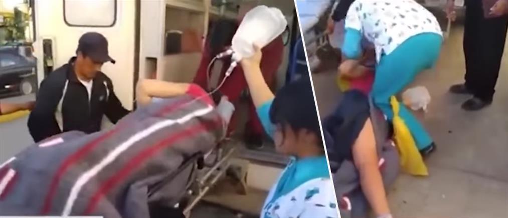 Τραυματιοφορείς έριξαν ετοιμόγεννη από το φορείο (βίντεο)