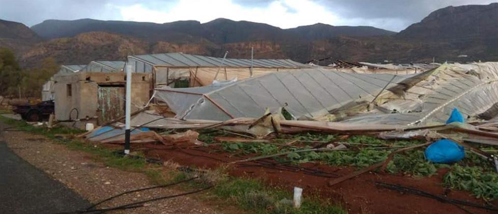 Υδροστρόβιλος σάρωσε χωριό της Σητείας (εικόνες)