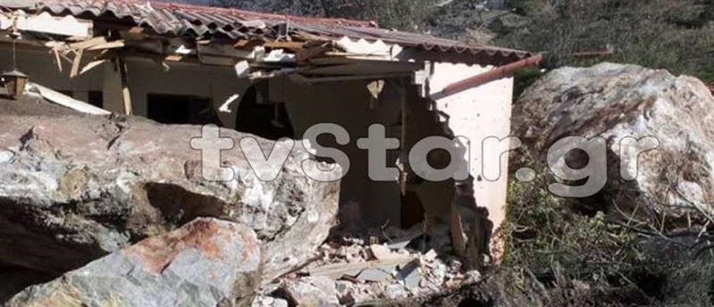 Βράχος πλάκωσε σπίτι στην Βοιωτία (εικόνες)