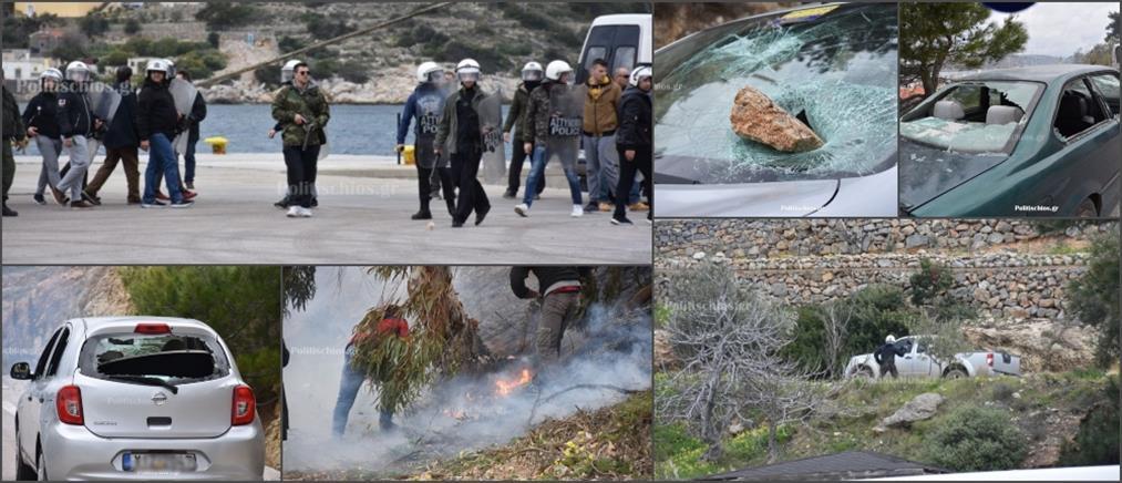 Άνδρες των ΜΑΤ έσπασαν αυτοκίνητα στην Χίο (εικόνες)