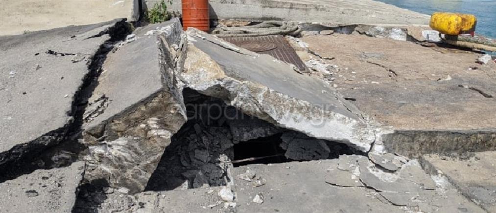 Σούδα: Πλοίο διέλυσε τoν προβλήτα στο λιμάνι (εικόνες)