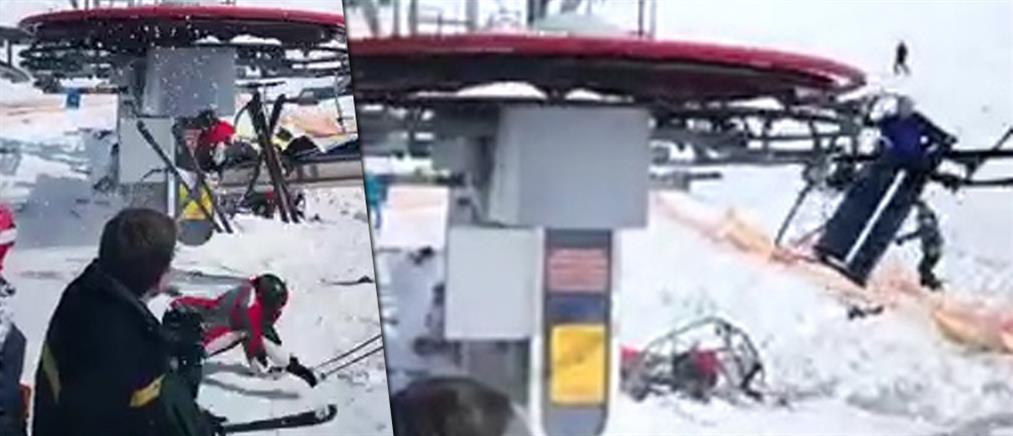 Βίντεο σοκ: σκιέρ εκσφενδονίζονται από λιφτ λόγω βλάβης