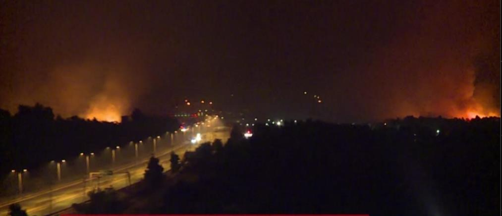 Φωτιά στην Αττική: οι φλόγες πέρασαν την Εθνική Οδό ανάμεσα σε Καπανδρίτι και Άγιο Στέφανο εικόνες)