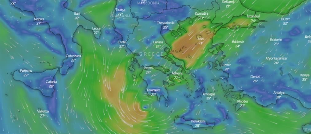 """""""Ιανός"""": πού θα """"χτυπήσει"""" σήμερα ο μεσογειακός κυκλώνας"""