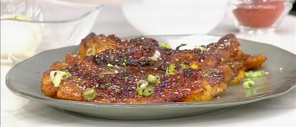 Συνταγή για γλασαρισμένη πανσέτα με σάλτσα μπάρμπεκιου από τον Πέτρο Συρίγο