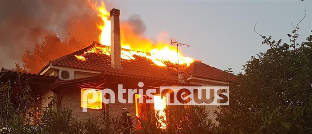 Φωτιά σε σπίτι: Πρόλαβαν να το εγκαταλείψουν οι ένοικοι (βίντεο)