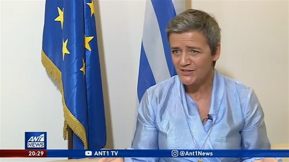 Η Ευρωπαία Επίτροπος Μαργκρέτε Βεστάγκερ στον ΑΝΤ1