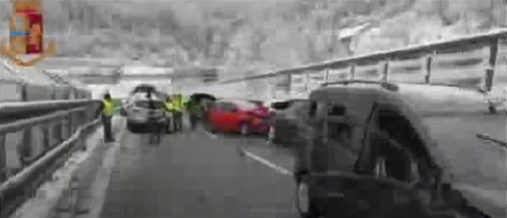 Καραμπόλα με δεκάδες αυτοκίνητα στο Τορίνο (βίντεο)
