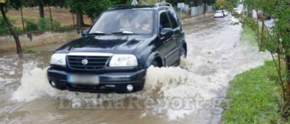 Φθιώτιδα: Δρόμοι μετατράπηκαν σε ποτάμια από το μπουρίνι
