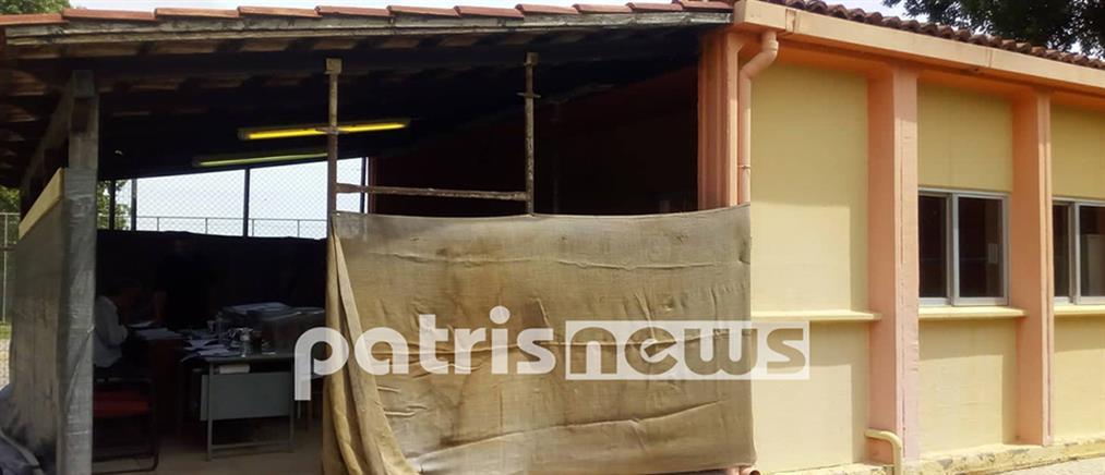 """Σε """"παράγκα"""" εκλογικό κέντρο στην Ηλεία (εικόνες)"""