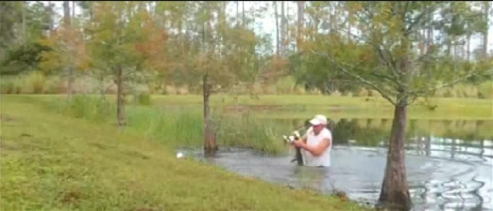 Βούτηξε σε λίμνη για να σώσει το σκυλάκι του από αλιγάτορα (βίντεο)