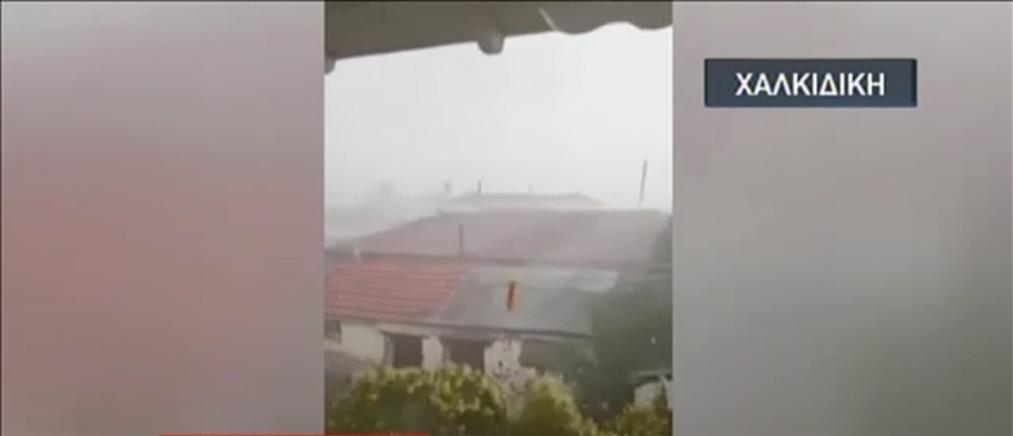 Θυελλώδεις άνεμοι και χαλάζι σάρωσαν τη Χαλκιδική (βίντεο)
