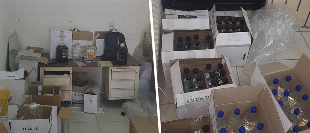 Εμφιάλωναν παράνομα αλκοολούχα ποτά και τσίπουρο (εικόνες)