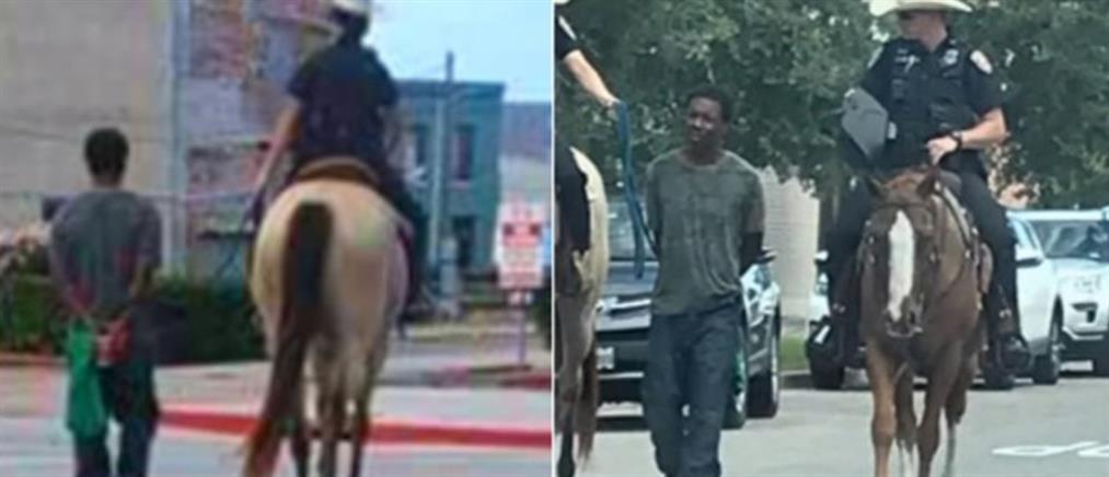 Τέξας: Έφιπποι αστυνομικοί σέρνουν αλυσοδεμένο συλληφθέντα (βίντεο)