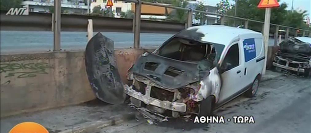 Μπαράζ εμπρησμών στην Αθήνα (εικόνες)