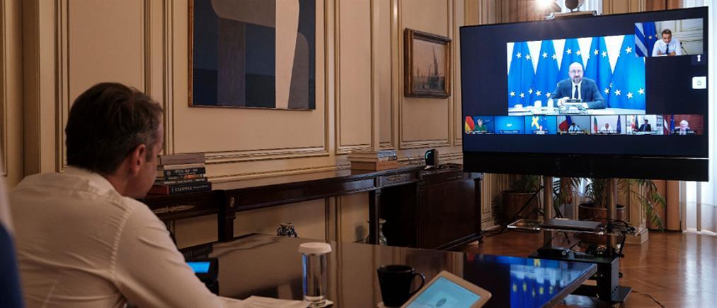 Τηλεδιάσκεψη Μητσοτάκη - Μισέλ με τη συμμετοχή Μέρκελ