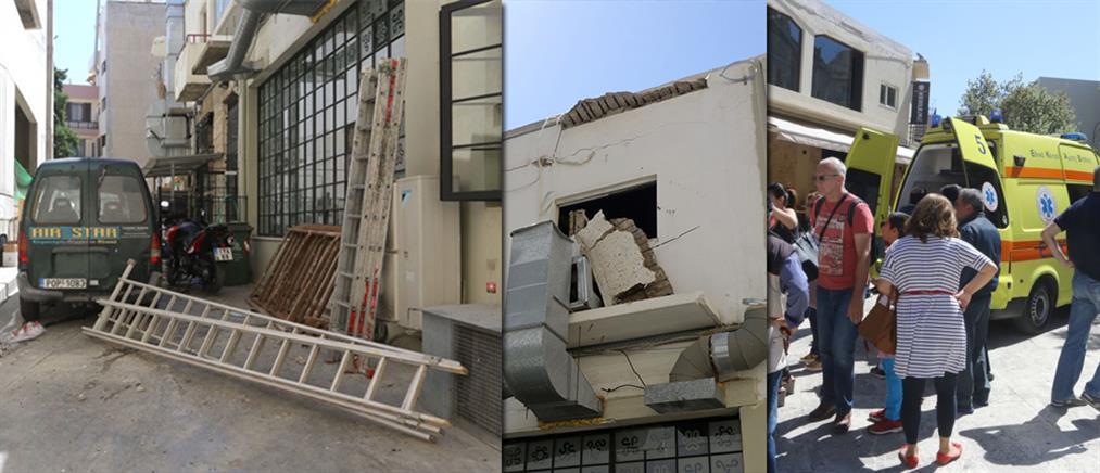 Κατάρρευση μπαλκονιού τραυμάτισε τέσσερις οικοδόμους (φωτο)