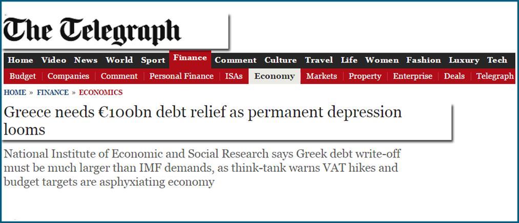 Telegraph: Η Ελλάδα χρειάζεται κούρεμα χρέους 100 δισ. ευρώ